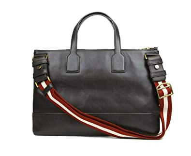 432dae8aeb85 Amazon.com: Bally Brown Leather Business Bag With Red and White Web 202931:  Shoes