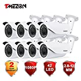 TMEZON 8 Pack OSD Menu AHD Camera 2.0MP 1080P HD 4-In-1 2.8-12mm Varifocal Zoom 42IR LEDs Hybrid Surveillance Security Camera
