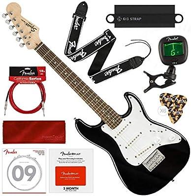 Squier por Fender Mini Strat guitarra eléctrica, negro con Fender ...