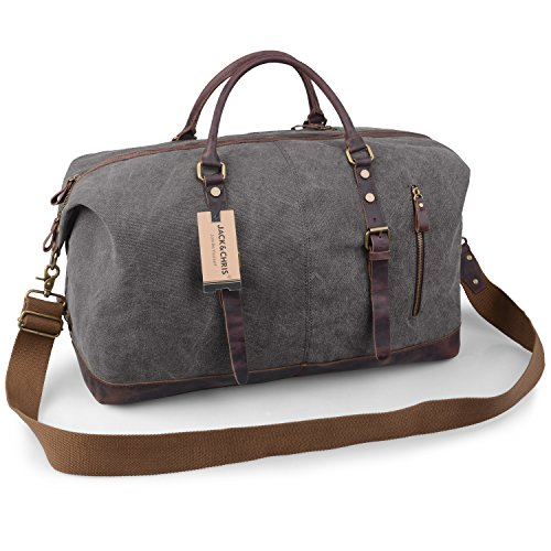 Jack&Chris Oversized Canvas Leather Trim Travel Tote Duffel Shoulder Handbag Weekend Bag CB1004 (Grey)
