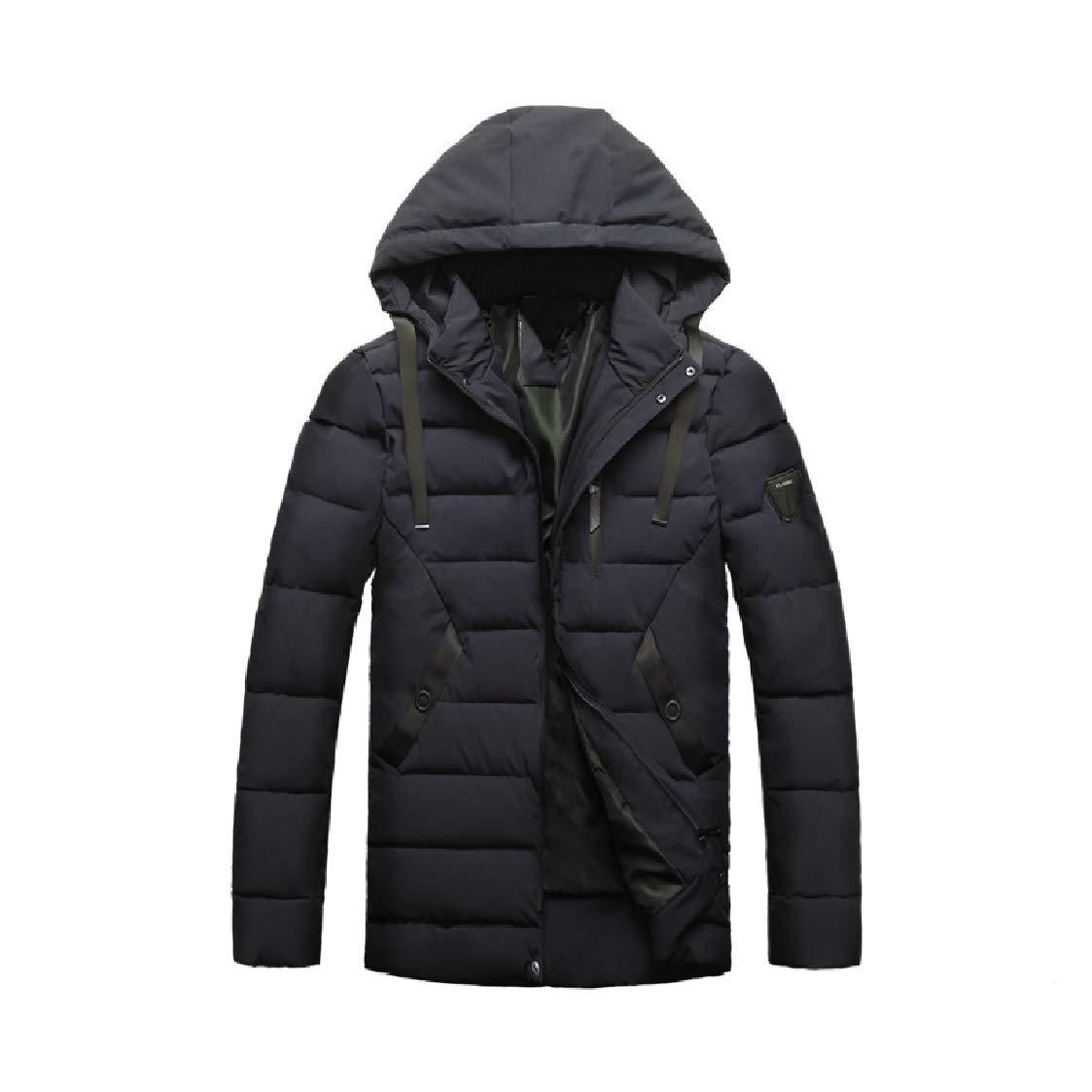 DressUMen Winter Full-Zip Relaxed-Fit Outwear Keep Warm Hooded Pea Coat Jacket