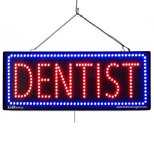 Large LED Window Business Sign - Dentist - Extra Bright LEDs - Can Be Seen Through Tinted Windows - Extra Large - 32 inches Wide (#2637)
