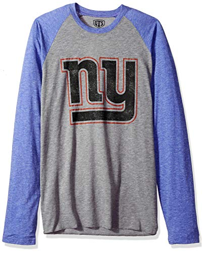 NFL New York Giants Male OTS Triblend Raglan Tee Distressed, Vintage Grey, X-Large -