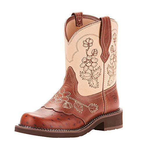 ARIAT Fatbaby Heritage Viola Western Boot Copper Ostrich Print Size 6 B/Medium US