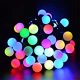 Hulorry Waterproof String Lights, Outdoor Solar String Lights 50 LED Ball String Lights Holiday Party Decoration Lights for Home, Lawn, Wedding, Patio, Party and Holiday Decorations,Colorful