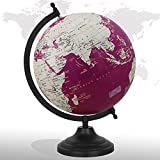 Decorative Rotating Earth Map Globe Purple 8'' Inches Metal Base Educational Globe Office Table Topper