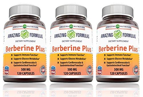 Amazing Nutrition Berberine Plus 500 mg 120 Capsules - Supports immune system - Supports glucose metabolism - Aid in healthy weight management - (3 Pack) by Amazing Nutrition
