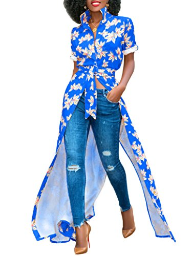 Imysty Womens Bohemian Cocktail Open Front Button Belted Africa Long Shirt (Woman Printed Belted Dress)