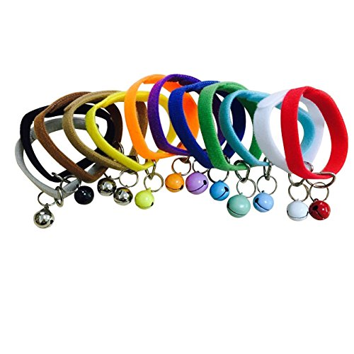 12Pcs Pet Collar Newborn ID Collar Adjustable Soft & Comfy Whelping Dog Band for Small Dog Cat (M, Multicolor-Bell)