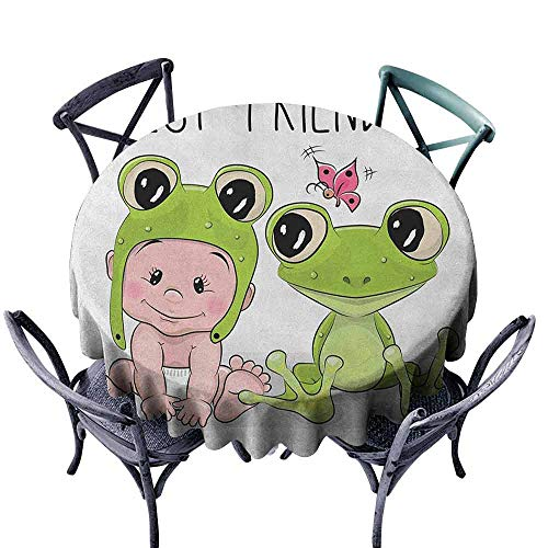 duommhome Animal Dustproof Tablecloth Cute Cartoon Baby in Froggy Hat and Frog Best Friends Love Theme Graphic Easy Care D71 Cream White Green]()