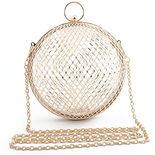American YXLONG Bag Gold Metal New Evening Ladies European And withbracelet Mesh Bag Iron Ball Evening rrtgw741qx