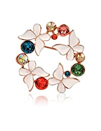 JewelleryClub Butterfly Scarf Ring KC Gold Plated Colorful Swarovski Elements Crystal Flower Brooch Scarf Ring fo Women