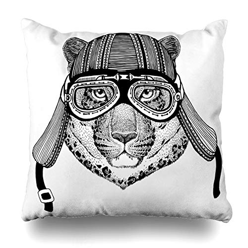Ahawoso Throw Pillow Cover Head African Wild Cat Leopard Catomountain Panther Jaguar Hand Africa Vintage Badge Biker Black Home Decor Cushion Case Square Size 18