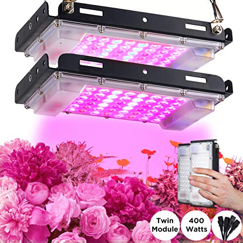 ECRU LED Grow Light Twin Panel – 400W Equivalent Growing Lamp (2 Pack x 200W) with White, Blue and Red LED Diodes Light Bulb for Indoor Plant Seedling, Vegetation and Flowering