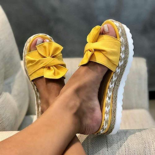 HXAZGSJA Women Slippers Summer Sandals Bowknot Slippers with Thick Soles Platform Female Beach Shoes Fashion Casual Flip-Flops for Beach for Women Daily