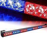 """Xprite 31.5"""" 28 LED Red & Blue 7 Modes Traffic Advisor Emergency Warning Vehicle Strobe Light Bar Kit"""