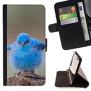 - cute baby pet bird nature blue ornithology - - Prima caja de la PU billetera de cuero con ranuras para tarjetas, efectivo desmontable correa para l Funny HouseFOR Samsung ALPHA G850