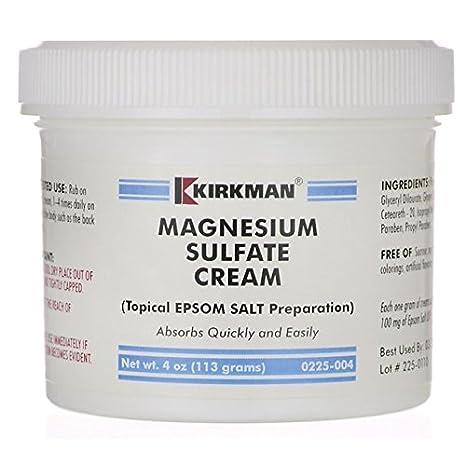 Magnesium Sulphate Cream, 4 oz (113 g) by Kirkman Labs: Amazon.es: Salud y cuidado personal