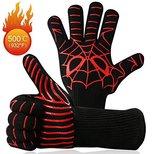 (Woage Grill Gloves, Oven Mitts Heat Resistant up to 932 ° F, Premium Cooking Gloves for BBQ, Cooking, Baking and Welding, Spider Pattern)