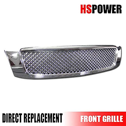 HS Power Chrome Front Grill 2000-2005 for Cadillac Deville Luxury Mesh Hood Bumper Grille