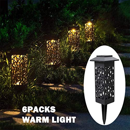 Transser 6 Pack Solar Powered LED Waterproof Garden Lawn Landscape Wall Street Hollowed Decorative Flood Light Security Gutter Path Spot Lighting Lamp