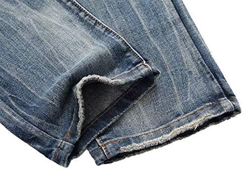 Pantalones Rasgados De Pantalones Los Ocasionales De Pantalones Cortos De Los Ropa Rectos Hombres Mezclilla Vaqueros Pantalones Destruidos Casuales Azul Mezclilla De Pantalones ADELINA OYwqPP