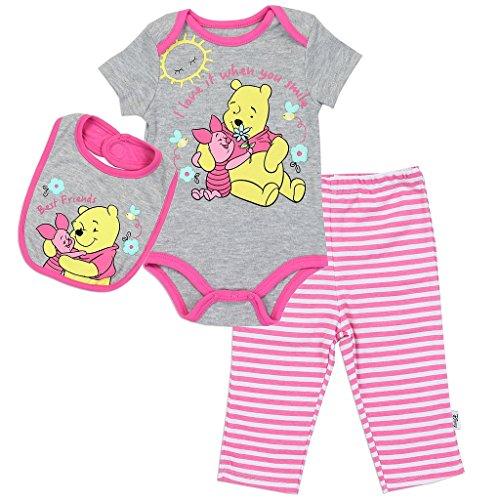 Disney Baby Girls' Pooh 3 Piece Bodysuit, Pant and Bib Set, Sugar Plum Pink, 3/6 M - Pooh Suit