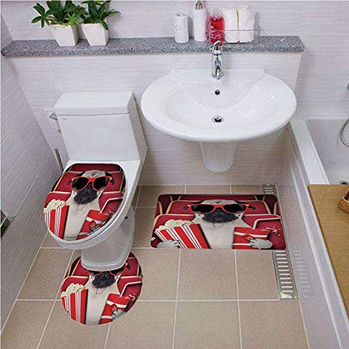 Bath mat Set Round-Shaped Toilet Mat Area Rug Toilet Lid Covers 3PCS,Pug,Funny Dog Watching Movie Popcorn Soft Drink and Glasses Animal Photograph Print,Red Cream Ruby,Bath mat Set Round-Shaped Toile