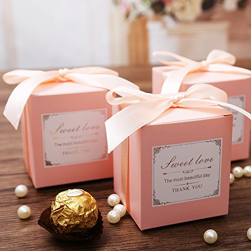 Doris Home 50 pcs Pink Birthday Wedding Favor Candy Boxes Bridal Shower Party Paper Gift - Pink Favor Gift Boxes