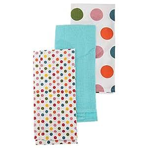 Stripe/Polka Dot Pattern Tea Towel/Dish Towel Set (Pack Of 3) (One Size) (Polka Dot Design Pack)