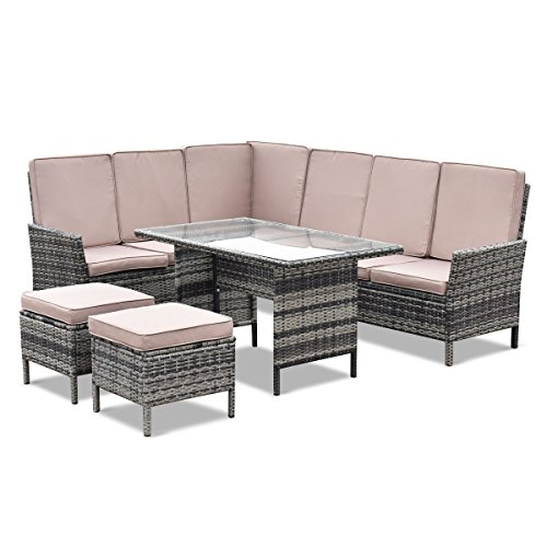 CHOOSEandBUY 5 pcs Patio Wicker Rattan Furniture Set w/Brown Cushion