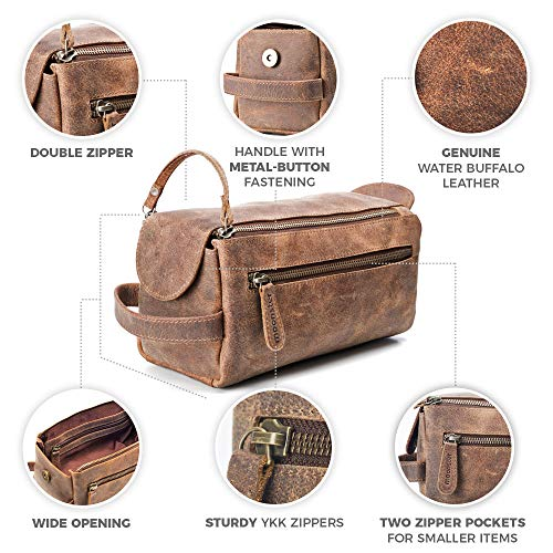 Leather Toiletry Bag for Men – Stylish, Practical and Thicker Than Other Bags – This Handmade Vintage Unisex Dopp Kit is…
