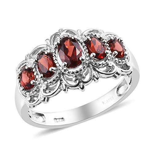 Shop LC Delivering Joy Platinum Oval Garnet 5 Stone Triquetra Celtic Knot Victorian Statement Ring Jewelry Size 10 Ct 1.2