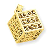 14k Yellow Gold Faith & Hope Prayer Box Charm D986