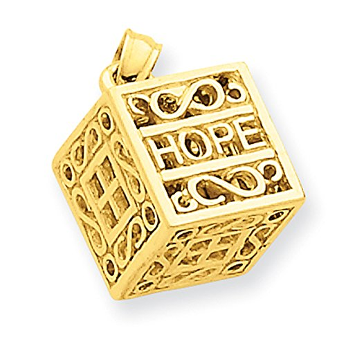 14k Yellow Gold Faith & Hope Prayer Box Charm D986 by Lex and Lu (Image #1)