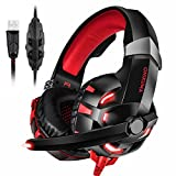 PC Gaming Headset, ONIKUMA 7.1 Surround Sound USB Gaming Headset, Crystal Clear Sound with Noise Isolating Mic, Over-ear Deep Bass Volume Control LED Light for PC Mac Computer Gamers Laptop (Red)