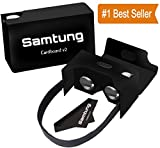 Google Black Cardboard Virtual Reality Glasses By Samtung | Ultimate 3D Headset Goggles For iPhone Samsung Android & Cell Phones Up To 5.7 | With Nose & Forehead Sponge Suction Cups Lens Cloth & More