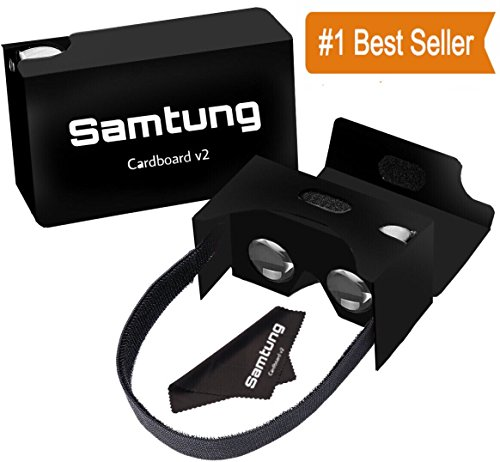 Price comparison product image Google Black Cardboard Virtual Reality Glasses By Samtung | Ultimate 3D Headset Goggles For iPhone Samsung Android & Cell Phones Up To 5.7 | With Nose & Forehead Sponge Suction Cups Lens Cloth & More