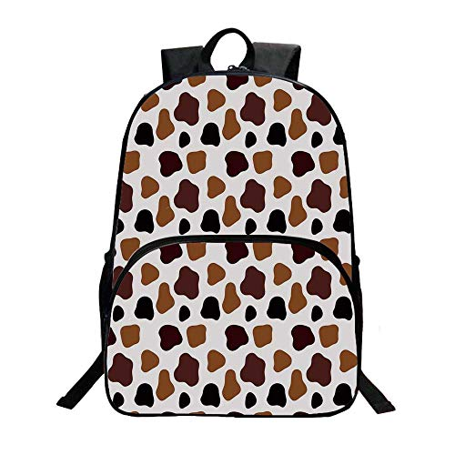"""Cow Print Fashionable Backpack,Cow Skin Animal Abstract Spots Milk Dalmatian Barnyard Camouflage Dots for Boys,11.8""""L x 6.2""""W x 15.7""""H"""