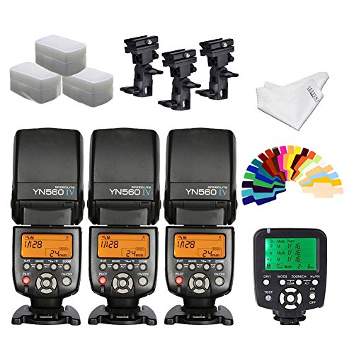 YONGNUO YN560iv Wireless Speedlite 3pcs +YN560TX Flash Controller for Canon Cameras+B Type Flash Swivel Bracket+INSEESI Clean Cloth +3 Flash Diffusers+20 Color Gels