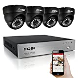 ZOSI 8Channel HD-TVI 1080N Video DVR 4x Outdoor Indoor Waterproof Day Night Vision 720P High Resolution Security Surveillance Camera System NO Hard Drive(Black)