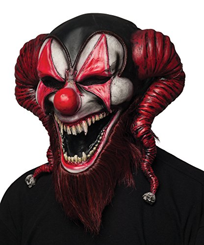 Really Scary Clown Costumes (Morbid Enterprises Bearded Red Jester Mask, Black/Red/White, One)
