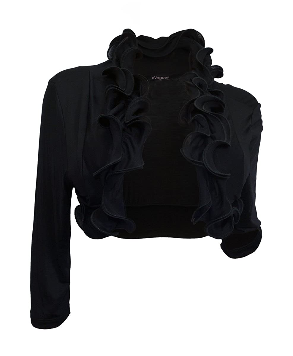 eVogues Plus size Cropped Ruffled Shawl Shrug Bolero Black S20110316A_BLK