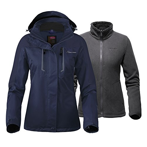 Pants And Hooded Jacket - OutdoorMaster Women's 3-in-1 Ski Jacket - Winter Jacket Set with Fleece Liner Jacket & Hooded Waterproof Shell - for Women (Deep Blue,L)