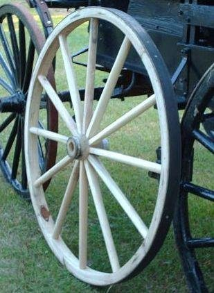 Decorative - Wood Wagon Wheel - 48 Inch x 1 Inch Steam Bent Hickory Wagon Wheel with wooden hub by AMISH WARES