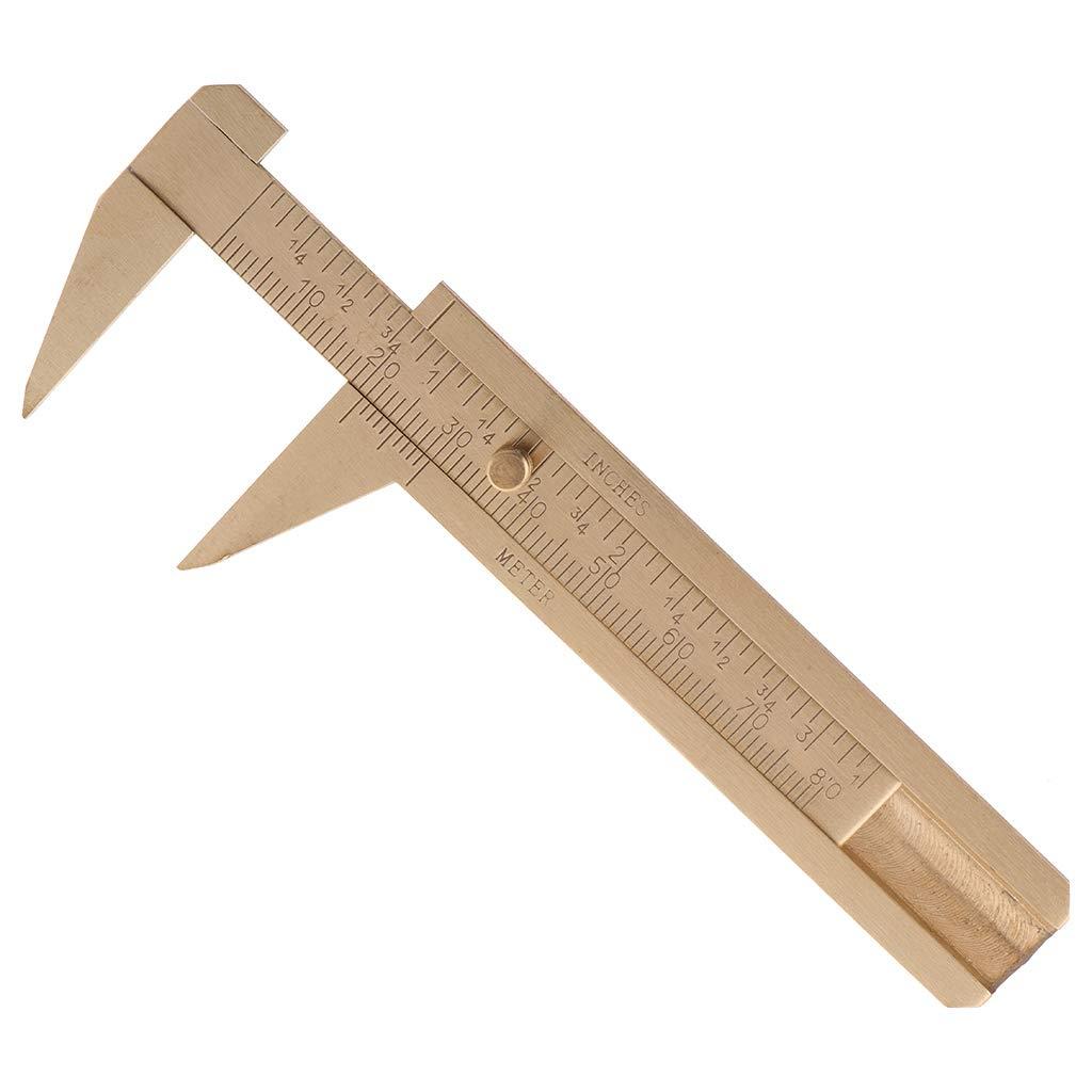 CHBC Mini Brass Vernier Caliper - 80mm Mini Measuring Tool Brass Pocket Ruler Handy Sliding Gauge