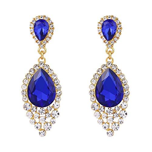 BriLove Wedding Bridal Dangle Earrings for Women Crystal Teardrop Cluster Beads Chandelier Earrings Royal Blue Sapphire Color Gold-Toned