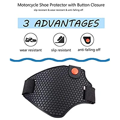 CPTDCL Motorcycle Gear Shifter Riding Wear-Resistant Moto Shoe Protector Antiskid Boots Cover with Button Closure Black-Rubber: Shoes