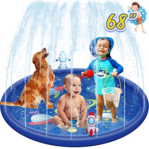 Cozybuy Splash Pad, Sprinkler for Kids Children's Sprinkler Pool 68'' Inflatable Sprinkler Water Toys-Outdoor Kiddie Pool for Babies & Toddlers