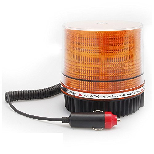 Wisamic LED Flashing Warning Light Caution Emergency Light Magnetic Beacon Strobe Amber (Yellow) Color 12V 8W for Car Lorry Van Truck